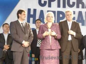 Bratislav Gašić na skupu SNS sa Jorgovankom Tabaković, Tomislavom Nikolićem i Aleksandrom Vučićem