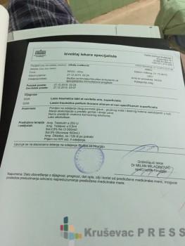 Lekarski izveštaj o povredama koje je zadobio Nikola Cvetković FOTO: S.Milenković