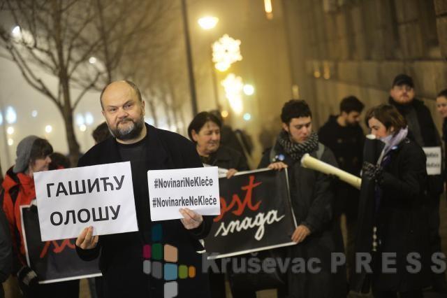 Sa protestnog skupa novinara FOTO: B92/Tanjug