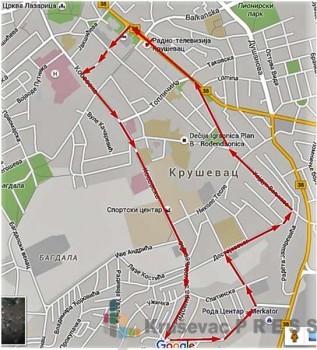 Planirana staza za 1. kruševački polumaraton