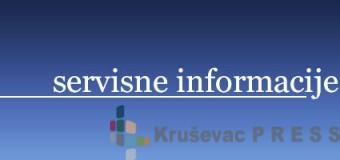 Servisne informacije za 26. oktobar