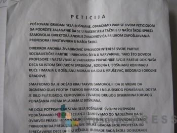 Peticija protiv direktora Andrije Živadinovića FOTO: S. Milenković