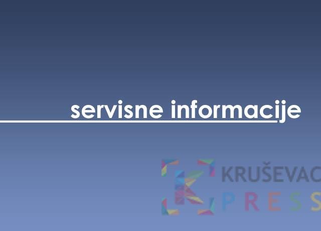 Servisne informacije za 25. jul