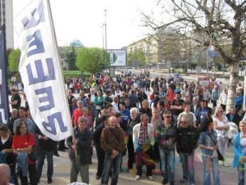 Pristalice SRS na Trgu kosovskih junaka FOTO: S. Milenković