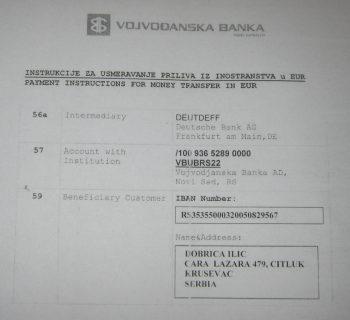 Instrukcija za uplatu na devizni račun za lečenje Katarine Ilić