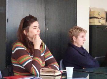 Jelena Milutinović (NVO Evrokontakt) i specijalni pedagog Jelica Milosavljević prate diskusiju FOTO: CINK