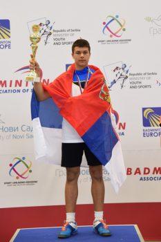 Sergej Lukić na pobedničkom postolju FOTO: Badminton savez Srbije