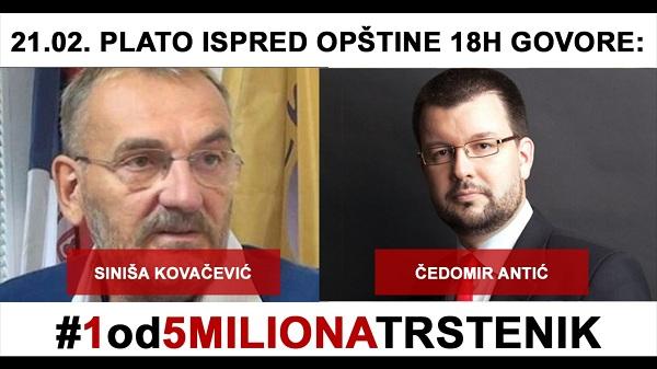 """""""1 OD 5 MILIONA"""": Nastavljaju se protesti u Trsteniku i Kruševcu, prvo okupljanje u Paraćinu"""